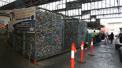 Bottles and cans at a recycling center